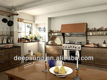 Foshan traditional Style new solid wood kitchen cabinet For Villa/house