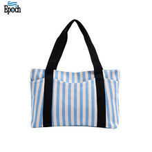New arrived durable zipper closure simple design canvas sturdy stripe wholesale tote bags
