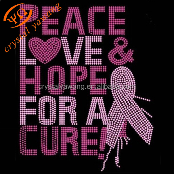 custom rhinestone breast cancer iron on transfers motif for garment