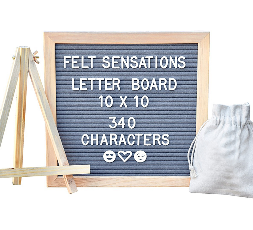 Double side LetterBoard one black one gray with 580 Letters 90 emojis board nature oak frame 10*10 advertising felt letter board