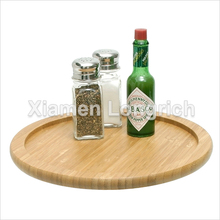 Eco-friendly Nature Round Shaped Curve Bamboo Spice Wine Fruit Cocktail Serving Tray