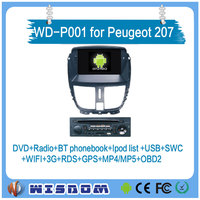 WISDOM Android car dvd player for Peugeot 207 gps dvd navigation car radio tv bluetooth system multimedia