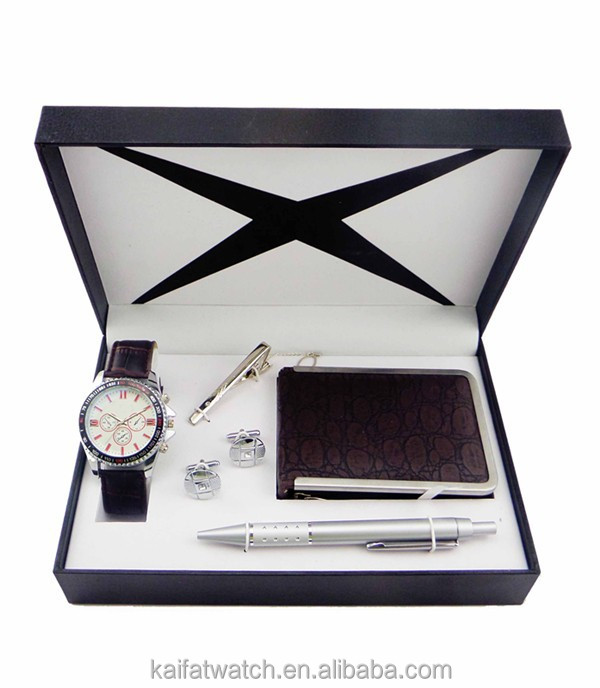 2015 Hot sale business men wallet gift set with watch pen cufflinks tie clip