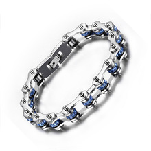 Wholesale Customized High Grade Blue Rhinestone Stainless Steel Silver Motorcycle Bike Chain Bracelet For Women