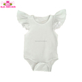 Girls Blank White Flutter Sleeve Ruffle Romper Toddlers Cotton Angel Wing Baby Onesie Wholesale Kids Flutter Sleeve Body Suit