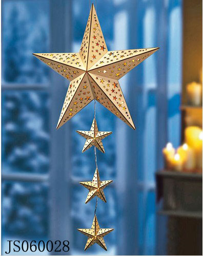 Wooden star led light hanging, with one big star and three small stars, 2016 New Christmas led light