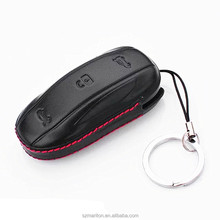 New HandCraft Leather Stitching Remote Key Fob Pocket Bag for Tesla Model X with gift box