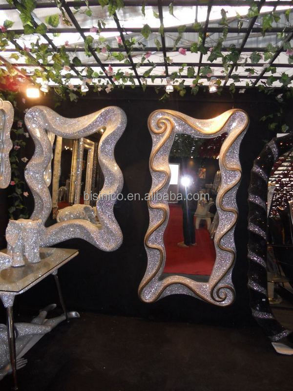 Italian Fashion Design Crystal Diamond Mosaic Frame Mirror, Luxurious Bling Style Hand Made Decorated Floor Mirror