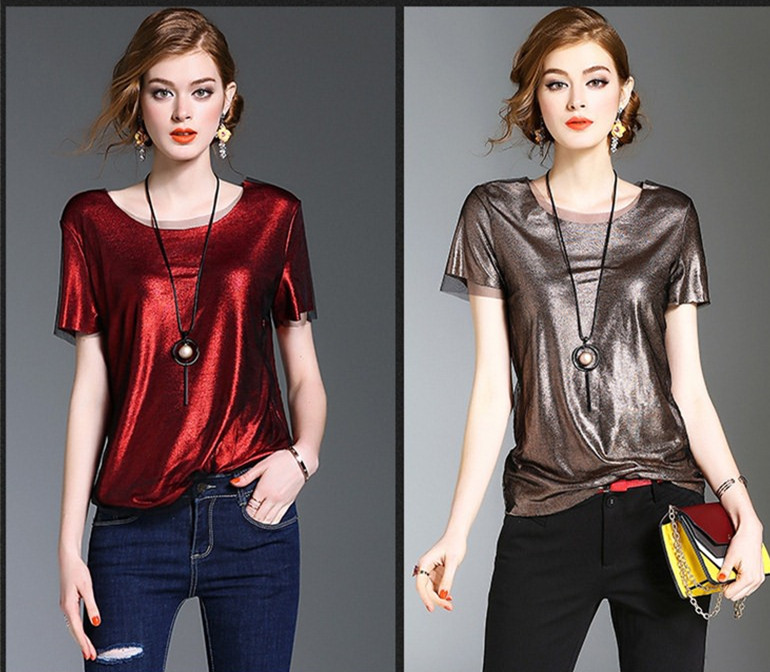 2017 Summer latest design glossy shine round neck loose short sleeve casual top blouse China garment factory