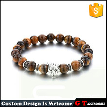 Hot Selling Leopard With Brown Stone Bracelet For Men Tiger Eye Stone And Zinc Silver Alloy Animal Charm Bracelet