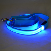 LED High Visibility Flashing Lights Nylon Pet Dog Puppy Pup Night Safty Collar and Leash Glow in the Dark LED Dog Leash