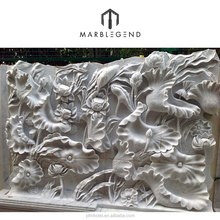 Hand carving natural white marble stone wall relief sculpture