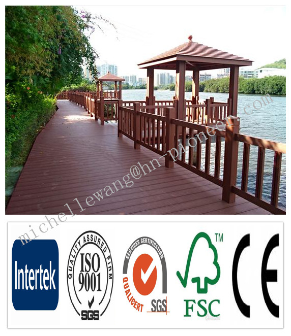 Weather resistant wood plastic composite flooring anti-UV WPC siberian larch decking, outdoor stair covering