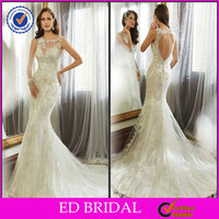 EDW650 2015 New Collection Lace Keyhole Back Mermaid Wedding Dress with Court Train