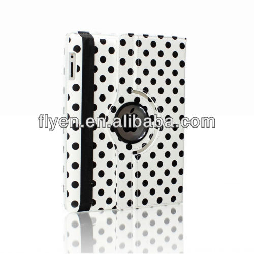 smart magnetic cover leather case 360 degree rotating polka dot case for ipad air 5