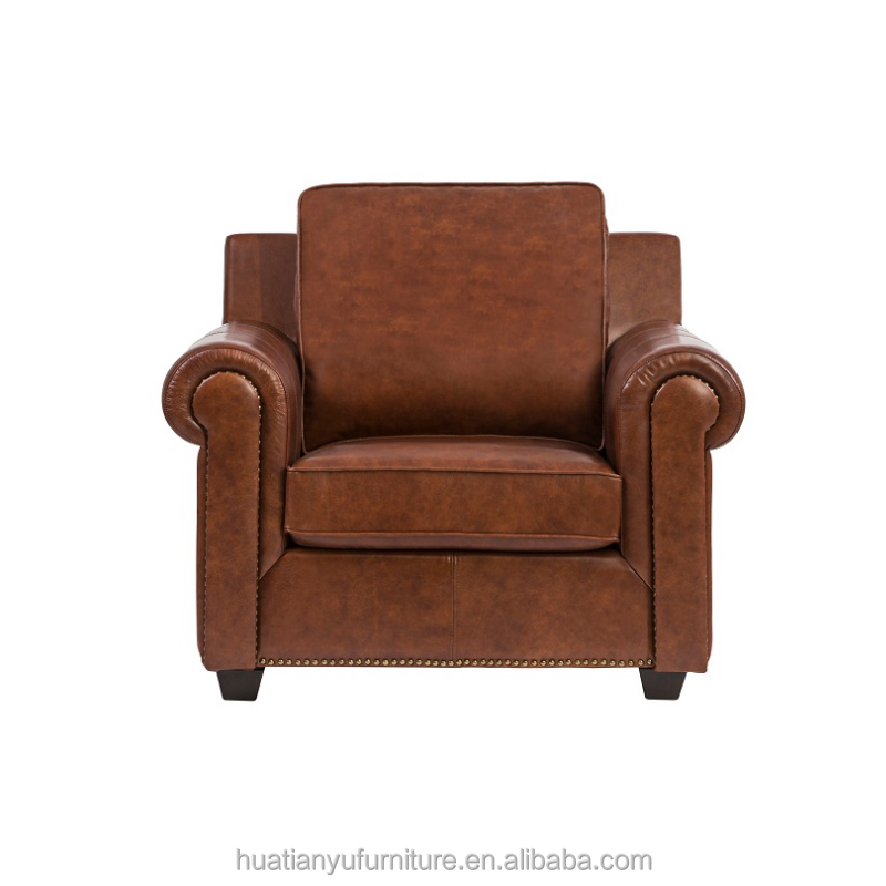 Simple solid wood furniture one cushion leather sofa with arms
