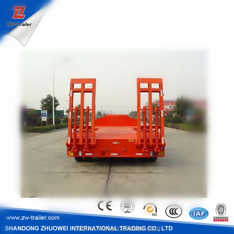 20ft container widely used tyre exposed 2axle 30-45ton low bed flatbed semi trailer