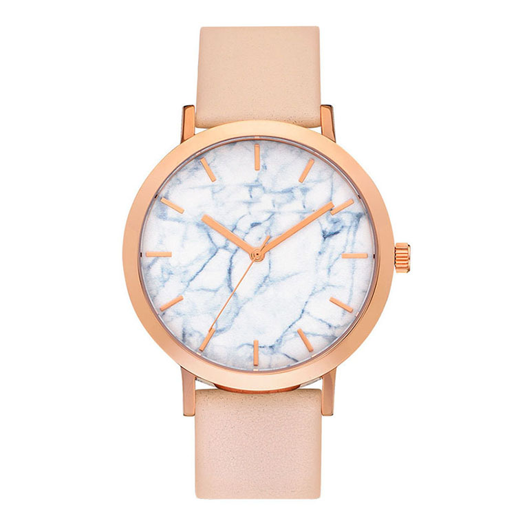 Japanese movement marble stone face slim women watches