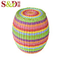 round shape colorful outdoor small cheap plastic rattan woven stools