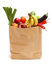 Retail grocery fruit paper bag with handles