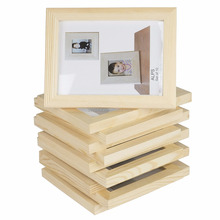 Customized Unfinished Natural Wood Color Solid Pine Wooden Photo Picture Frame