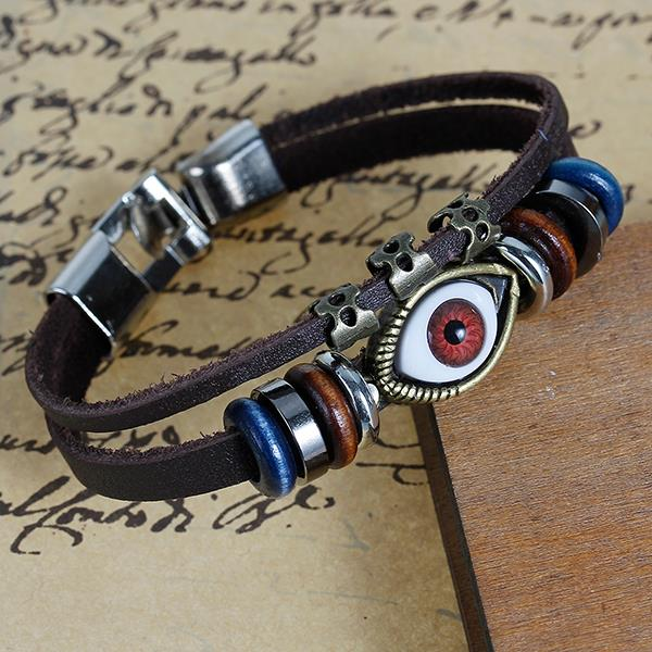 New Fashion Hook Clasp Coffee Cord Antique Bronze Evil Eye Multicolor Beads Cowhide Multilayer Bracelets