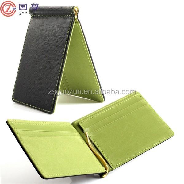 New Mens Wallet Korea Slim Black Leather Spring Money Clip Holder Purse