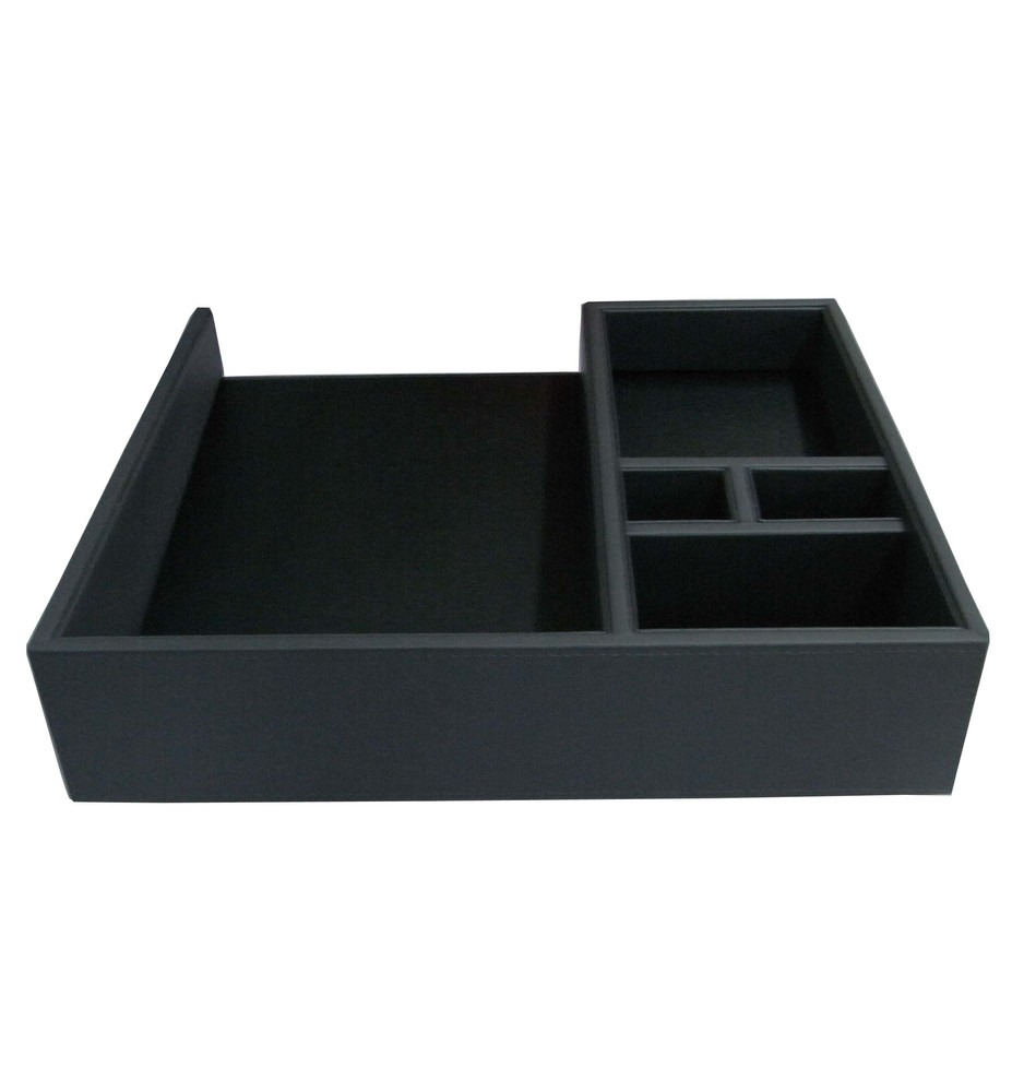 premium quality wooden leather coffee tray