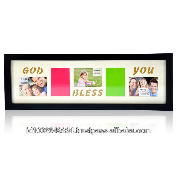 Frame Gallery God Bless You 17.3x5 Black w/ (5)2.25x3.25 op. frame