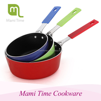 ceramic aluminum fry pan pink cookware set non-stick milk pot