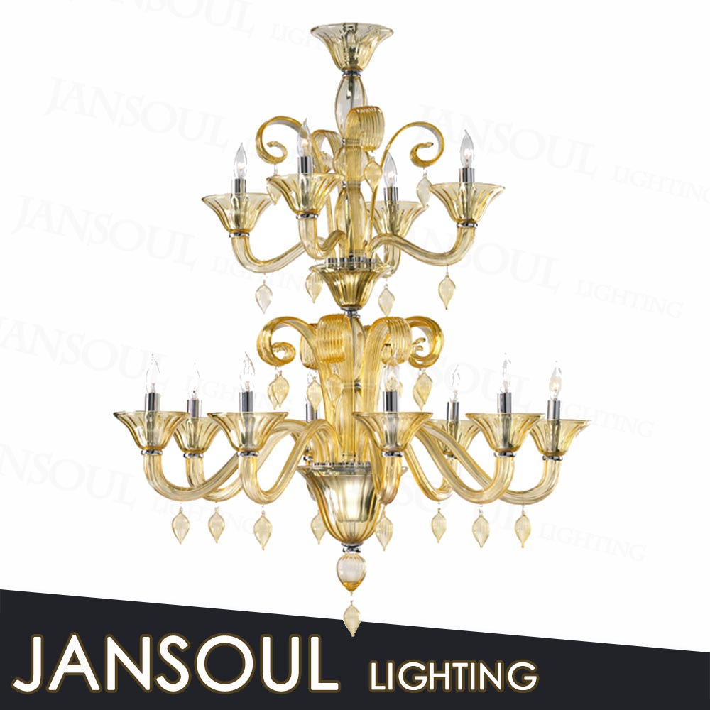 2015 new arraival european style fancy pendant light gold murano glass chandelier