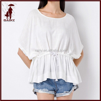 100% Cotton Plain Dyed Belted Blouse Women Wear