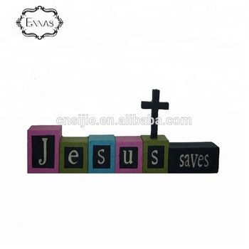 Religious crafts JESUS SAVES resin building block w/cross table decoration
