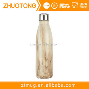 100% Leak & Sweat Proof Double Walled Vacuum Insulated Stainless Steel Thermos Flask Wood Flask