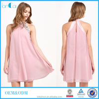 Jewelry beaded pink girls chiffon swing dress 2016 new frock design