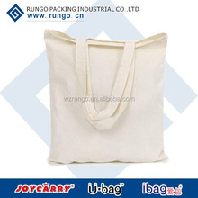 Reusable Plain Organic cotton canvas shopping bag with natural color