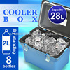 Cooler box 28L Japan made ice warm and cool box hock fishing outdoor plastic food wine beer insulated cooler AQUA BLUE 300