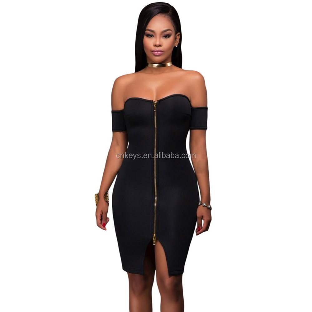 K2020A 2017 New Modern Off-shoulder Club Bodycon Dress Sexy Slim Open Leg Prom Dress Ladies