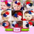 Hot Sales Kids Shabby Chic Flower Headband Boutique Fashion Baby Flower Hair Accessories 4th of July Headband