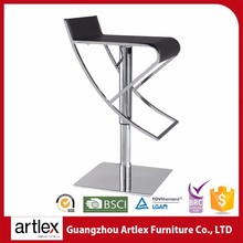 Modern Adjustable Leisure Swivel Bar Stool With Wheels Synthetic Leather Bar Chairs