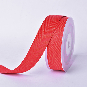 Red solid color reusable strong grosgrain gold purl Twill gift packing ribbon