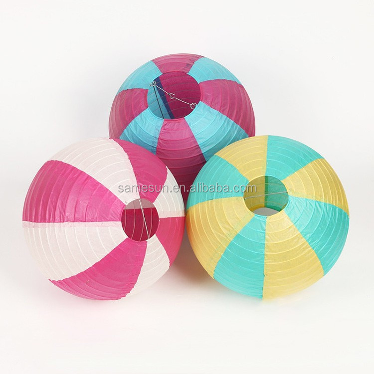 Party Item Assorted Color Striped Round Paper Lantern