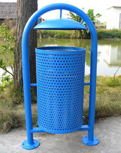 Powder coated metal trash receptacle commercial waste receptacle custom trash can