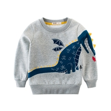 LT- 2541Wholesale fashion dinosaur printing thick fleece <strong>child</strong> grey sweater <strong>hoodie</strong> in stock / OEM Custom