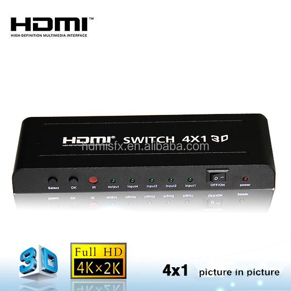 1.4 HDMI switcher 4x1 3D 4K picture in picture Switched seamlessly