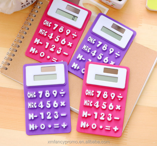 Office Stationery Credit Card Shape Portable Mini Ultra Solar Energy Pocket 8-Digit Calculator with LCD screen