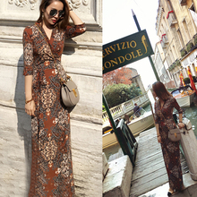 High Quality Latest Design One Piece Floral Print Korean Women Casual Dress