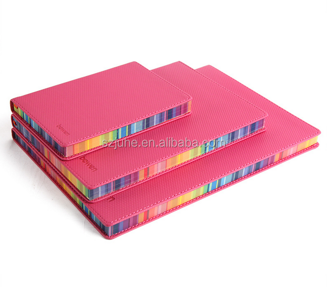 wholesale A4 A5 A6 size pu leather notebook with colored paper