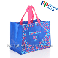 Durable recyclable packaging handle grocery laminated PP woven shopping bag with colorful printing