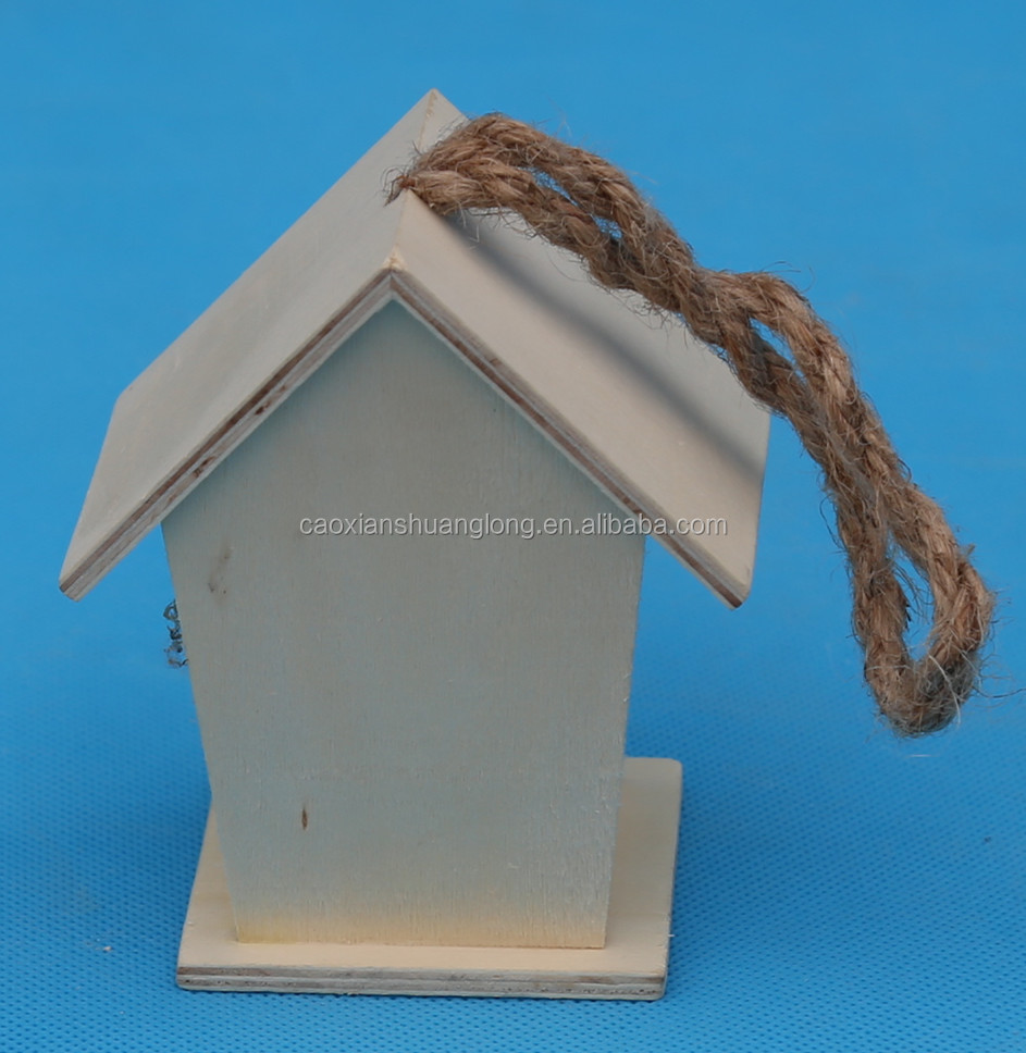 2014 Antique Cheap Wholesale Custom Unfinished Wooden House Shaped Bird Cage